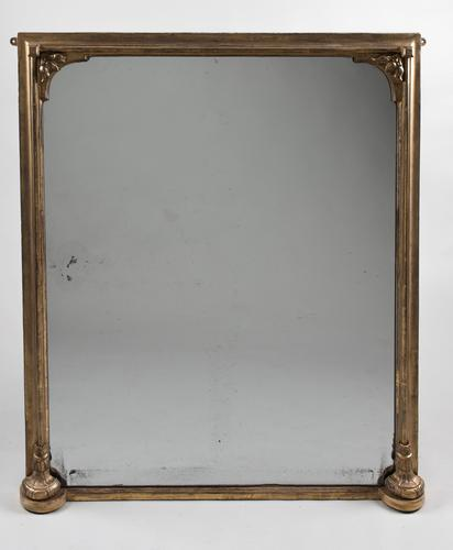 19th Century Large English Gilt Overmantle Mirror (1 of 1)