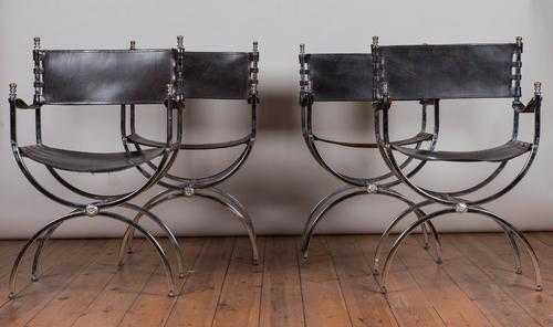 Set of 4 Leather & Chrome Armchairs by the Design Company Maison Jansen (1 of 1)
