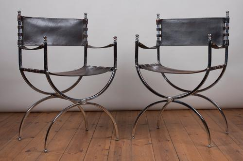 Pair of Leather & Chrome Armchairs by Maison Jansen (1 of 1)