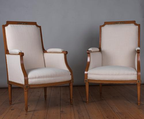 Pair of Large 19th Century French Fruitwood Bergere Armchairs (1 of 1)