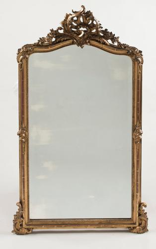 19th Century French Gilt Overmantle Mirror with Original Glass & Wood Panelled Back (1 of 1)