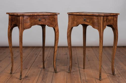 Pair of Pretty French Marquetry Bedside Tables / Lamp Tables c.1920 (1 of 1)