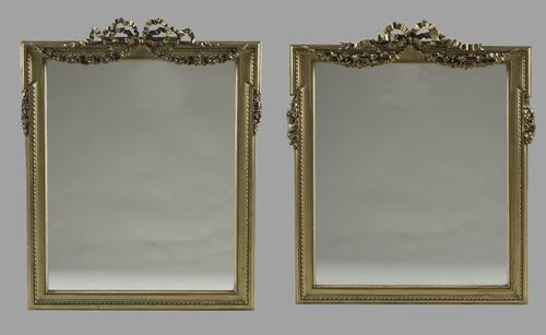 Near Pair of 19th Century French Louis XVI Style Gilt Overmantle Mirrors (1 of 1)