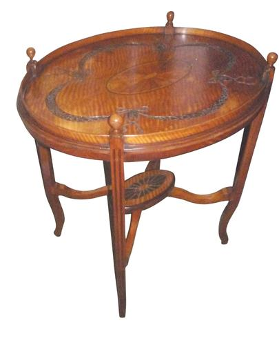 Victorian Carved & Inlaid Oval Satinwood Table c.1890 (1 of 2)