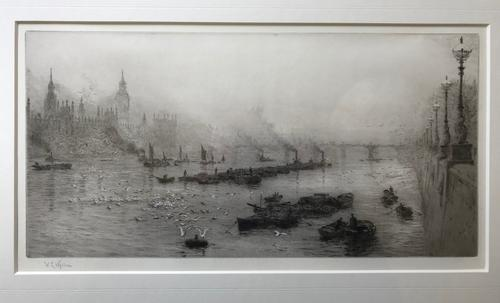 Etching by W.L.Wyllie RA 'Palace of Westminster' circa 1920 (1 of 1)