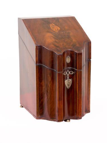 George III Inlaid Mahogany Knife Box c 1795 (1 of 1)