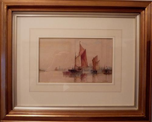 'Shoreham Harbour' Watercolour by F J Aldridge c.1920 (1 of 1)