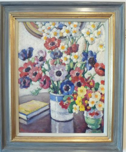 Oil Painting of 'Flowers' by Rowley Leggett c 1930 (1 of 1)
