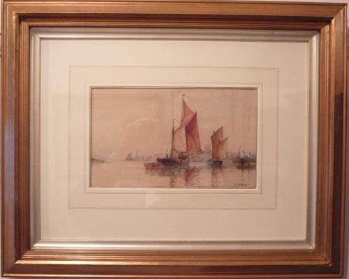 Watercolour of Shoreham Harbour by F.J.Aldridge c.1910 (1 of 1)