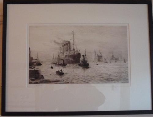 Etching by W.L.Wyllie RA RMS Mauretania c.1910 (1 of 1)