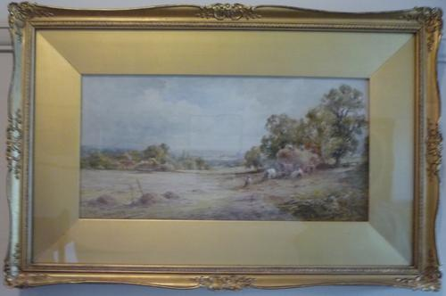 Watercolour by Henry J Kinnaird 'Sussex Hayfield' C.1900 (1 of 1)