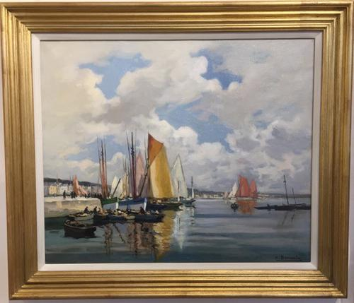 Marine Oil Painting by H.A.Barnoin 'Concarneau' (1 of 1)