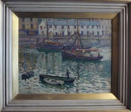 Oil Painting by J.A.Park 'Brixham Harbour' 1919 (1 of 1)