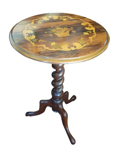 Victorian Rosewood Inlaid Tripod Table (1 of 1)