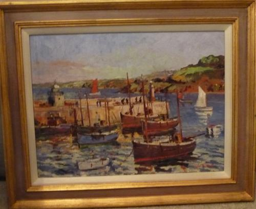 Oil Painting 'St Ives' by George Turland c.1930 (1 of 1)