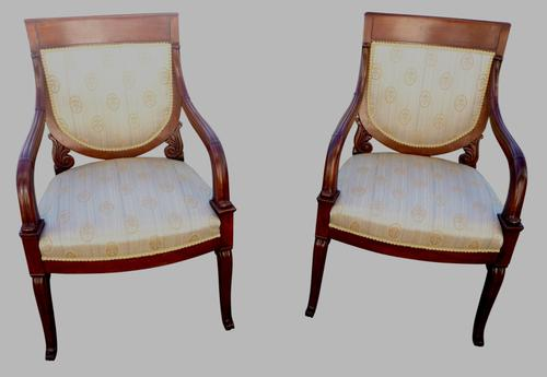 Fine Pair of French Mahogany Armchairs c.1870 (1 of 1)