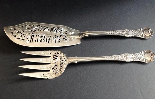 Antique Victorian Silver Coburg Fish Set - 1856 (1 of 9)
