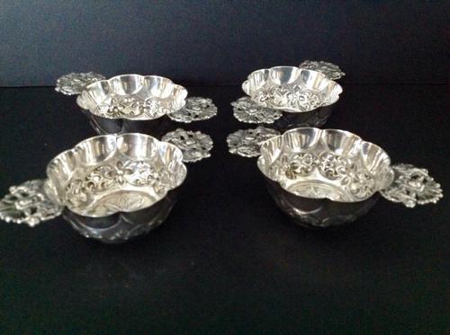 Set of 4 Antique Victorian Silver Quaichs 1894 / 1895 (1 of 1)