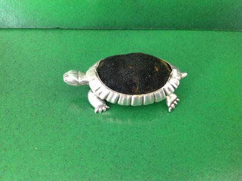 Antique Edwardian Silver Tortoise Pin Cushion - 1906 (1 of 1)