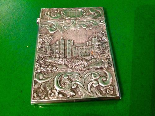 Antique Victorian Silver Castle Top Card Case Nathaniel Mills (1 of 1)