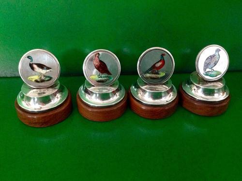 Set of 4 Antique Edwardian Silver Game Bird Menu Holders (1 of 1)