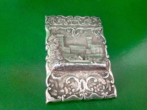 Antique Victorian Silver Castle-Top Card Case Osborne House (1 of 1)