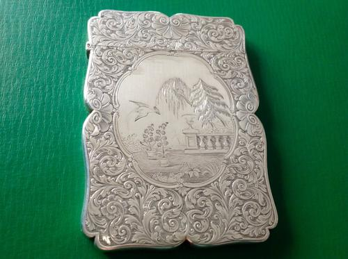 Nathaniel Mills Antique Victorian Silver Card Case (1 of 1)