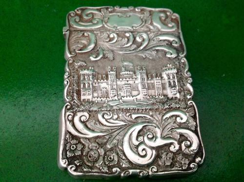 Nathaniel Mills Antique Victorian Silver Double Castle-top Card Case (1 of 1)