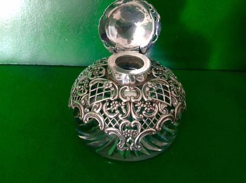 Antique Victorian Silver / Glass Inkwell - Comyns (1 of 1)