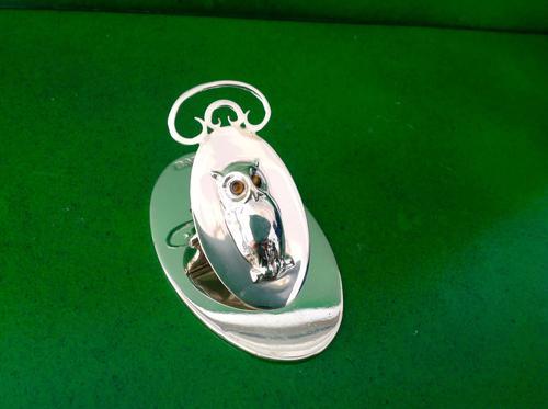 Antique Edwardian Silver Owl Desk Clip - Mordan (1 of 1)