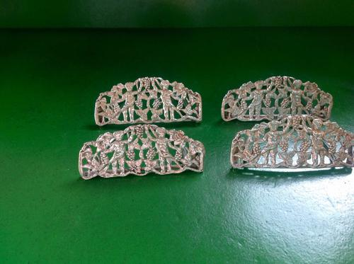 Set of 4 Antique Victorian Cast Silver Menu Holders -1891 (1 of 1)