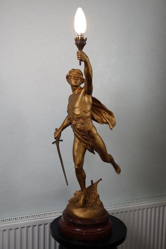 "After E. Picault: ""Victory"" Bronzed / Gilt Large Spelter & Brass Lamp on Variegated Red Marble Base c.1900 (1 of 8)"