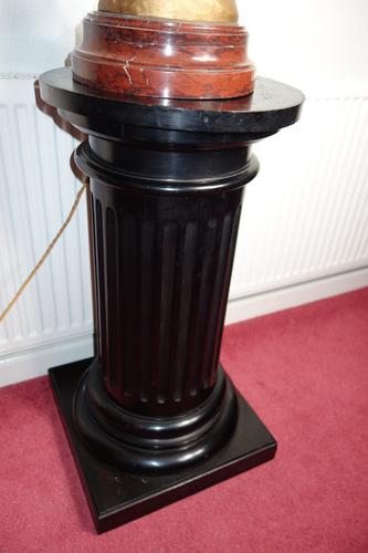 Ebonised Victorian Wooden Statue Display Pillar Pedestal in the Form of a Greek Column (1 of 6)
