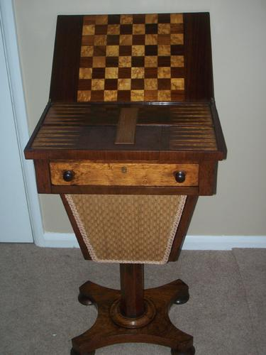 19th Century Rosewood Games / Chess / Backgammon / Cribbage / Sewing Table (1 of 1)