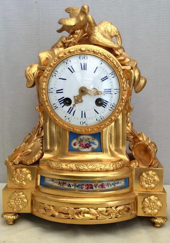 Stunning Ormolu Lovebirds Mantel Clock with Sevres Style Panels - Servant of Paris (1 of 1)