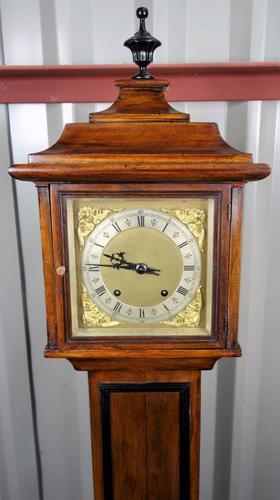 "LATE 19THC WALNUT GRANDMOTHER LONGCASE CLOCK - QUALITY WINTERHALDER & HOFFMEIER QUARTER STRIKING""TING TANG"" MOVEMENT AND 2 GONGS (1 of 1)"
