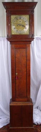 SMALL SLIM EARLY 18TH GEORGE II OAK CASED BRASS DIAL 8 DAY GRANDFATHER LONGCASE (1 of 1)