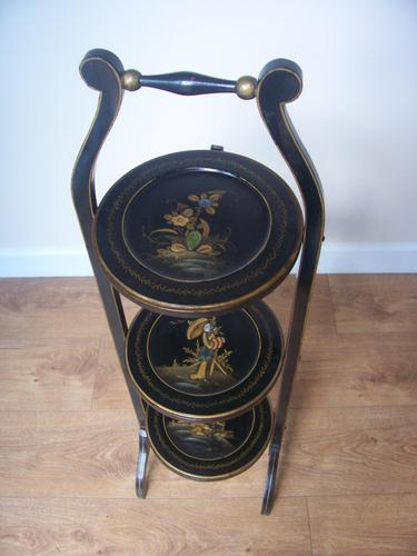 Folding Chinoiserie Decorated Cakestand (1 of 1)