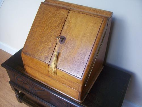 Oak Table Desk Top Stationery Box c.1900 (1 of 1)