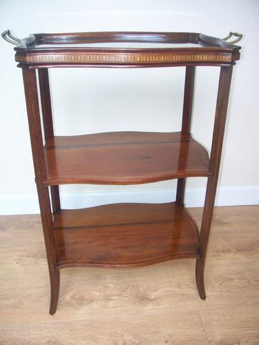 Edwardian Inlaid Tray Top Serpentine 3 Tier Etagere Tea Table (1 of 1)
