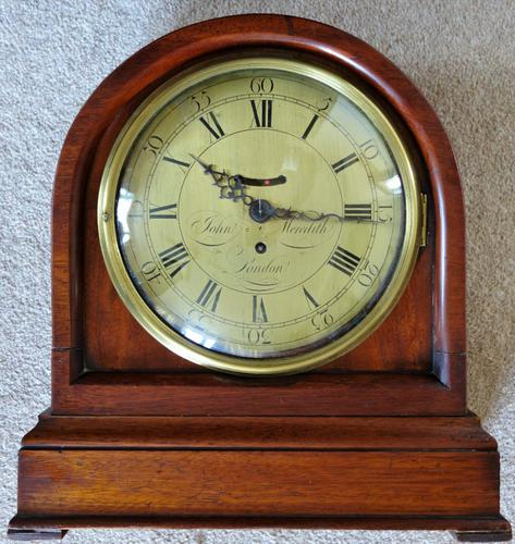 """Mahogany Cased 8"""" Dial Fusee Clock by John Meredith of London with Swinging Ball c.1780 (1 of 1)"""
