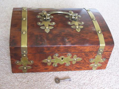 Burr Walnut Silk Lined Low Dome Sewing or Jewellery Box (1 of 7)
