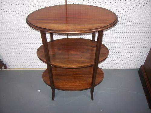 Edwardian Mahogany 3 Tier Oval Lamp Wine Occasional Centre Table Etagere (1 of 1)