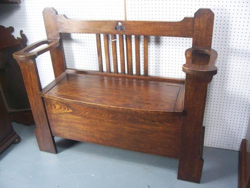 Oak Hall Seat / Monks Bench Stick Stand (1 of 1)