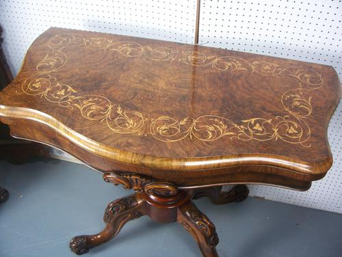Victorian Inlaid Walnut Card Games Table (1 of 1)