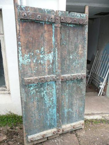 Pair of 19th Century Painted Indian Doors (1 of 3)