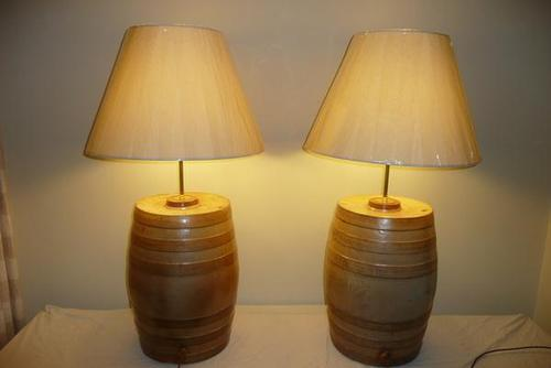 A Pair of Stoneware Barrell Converted Table Lamps (1 of 6)