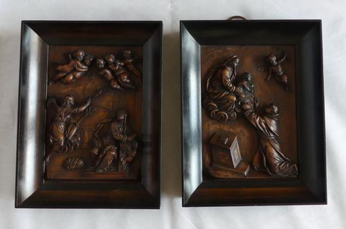 Pair of Continental Carved Early 19th Century Religious Panels (1 of 7)