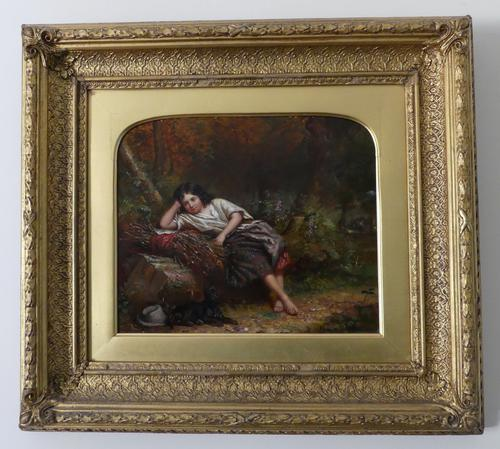 """Exceptional 19th Century Oil Painting """"Young Girl with Her Dog in Woods""""  by Jonathan Pratt (1 of 6)"""