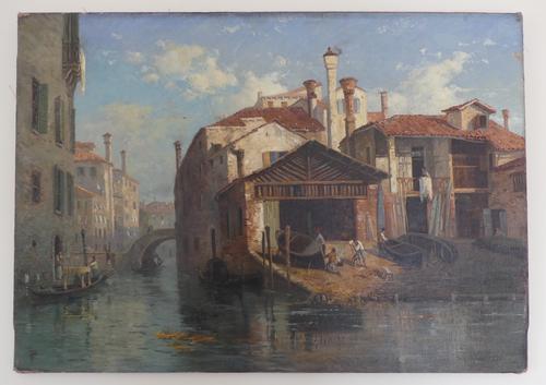 Stunning 19th Century Venetian Scene, Oil On Canvas by Thomas Pyne (1 of 8)